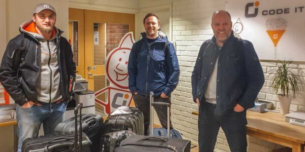 An eager CodeIT Frontline Team ready for departure at the CodeIT Group Head Office in Oslo, Norway.